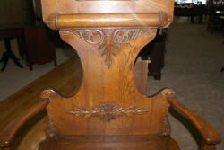 Solid oak antique bench seat carved hall tree 1910