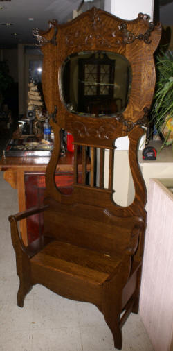 Solid oak antique hall tree with bench seat
