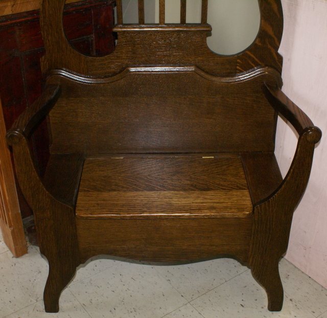 Solid Oak Antique Bench Seat Hall Tree
