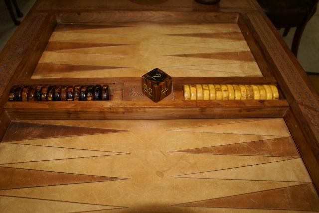 Antique Mahogany Inlaid Backgammon Table