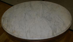 Victorian solid walnut oval marble top parlor table