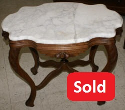 Victorian solid walnut turtle top marble parlor table