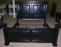 Modern black distressed painted king size bed