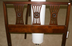 matched pair of solid mahogany flame finial twin beds