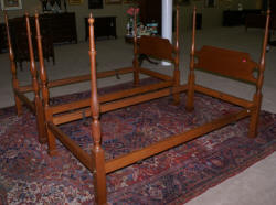Matched pair of solid cherry Virginia Craftsman twin poster beds