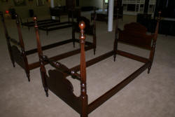 Kindel Furniture matched pair of mahogany twin poster beds
