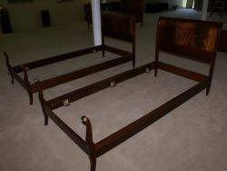 Pair of Regency design mahogany antique twin beds