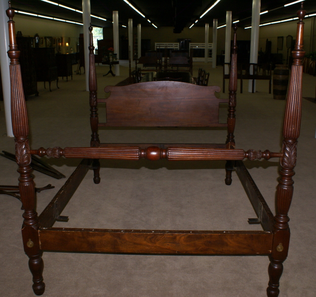 Early 1800s solid mahogany full or Queen antique canopy or rice bed : antique canopy beds - memphite.com