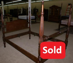 Early 1800s solid mahogany Queen or full size canopy or rice bed