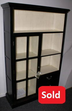 Pulaski Furniture company black and white one door /two drawer open bookcase