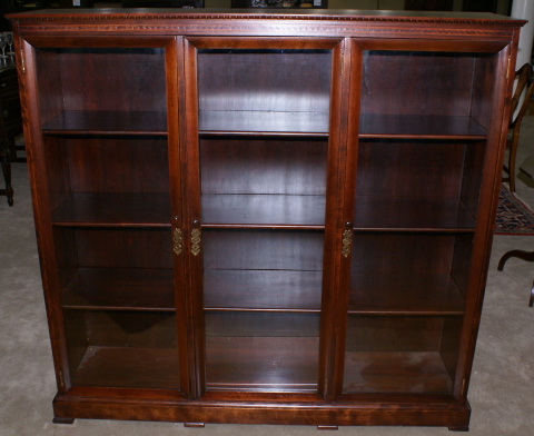 ... Mahogany Antique Inlaid 1920s Triple Glass Door Bookcase