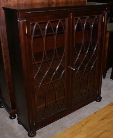 ... Antique Mahogany 1920s Grand Rapids Michigan Two Door Bookcase With  Columns