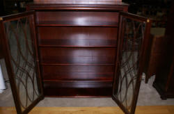 antique mahogany 1920s Grand Rapids Michigan two door bookcase with columns