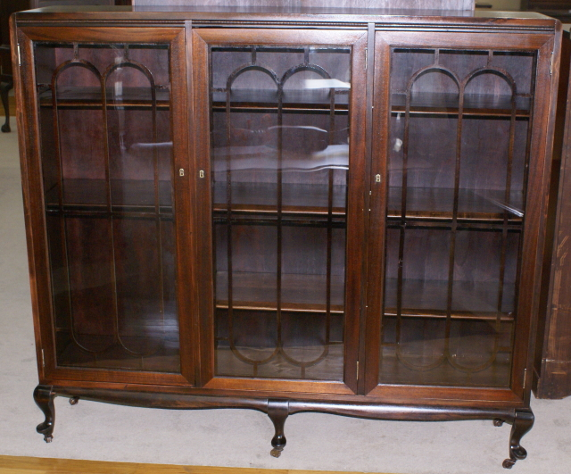 Petite walnut triple glass door antique bookcase ... - Petite Walnut Antique Triple Door Bookcase