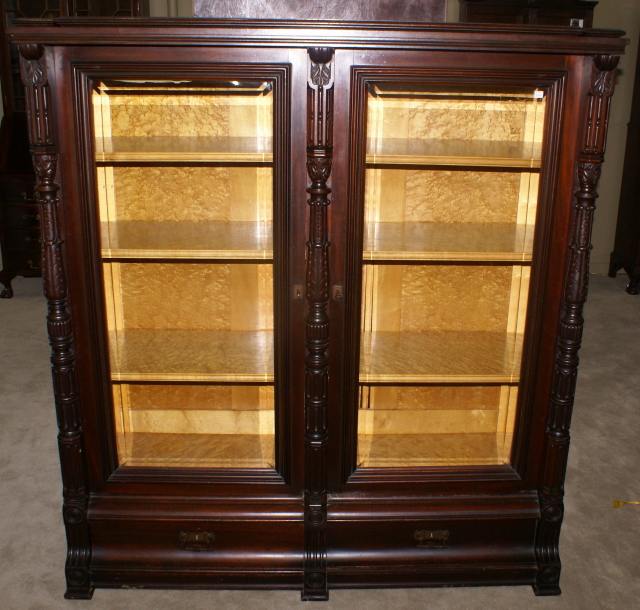 eastlake Victorian solid walnut antique beveled glass door bookcase ... - Antique Bookcase |Mahogany Bookcases