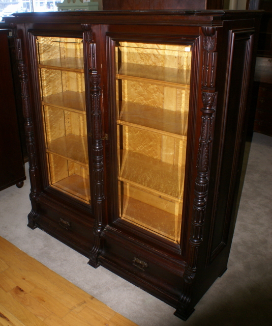... eastlake Victorian solid walnut antique beveled glass door bookcase - Eastlake Victorian Solid Walnut Antique Bookcase