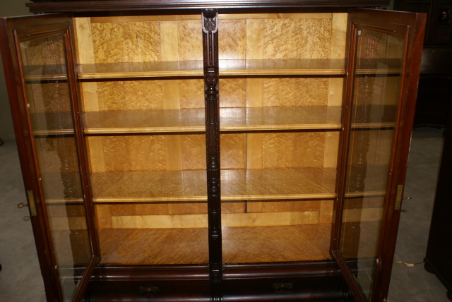 ... eastlake Victorian solid walnut antique beveled glass door bookcase - Eastlake Victorian Solid Walnut Antique Bookcase