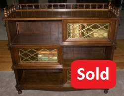 Poplar retro slding glass door bookcase