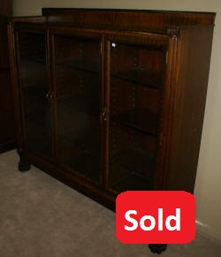Paw foot antique mahogany triple glass door bookcase