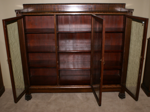 - Paw Foot Antique Mahogany Triple Glass Door Bookcase