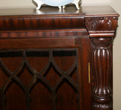 Empire Revival mahogany 3 door bookcase with carved columns