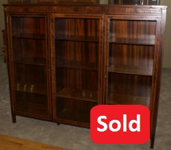 inlaid rosewood triple glass door bookcase