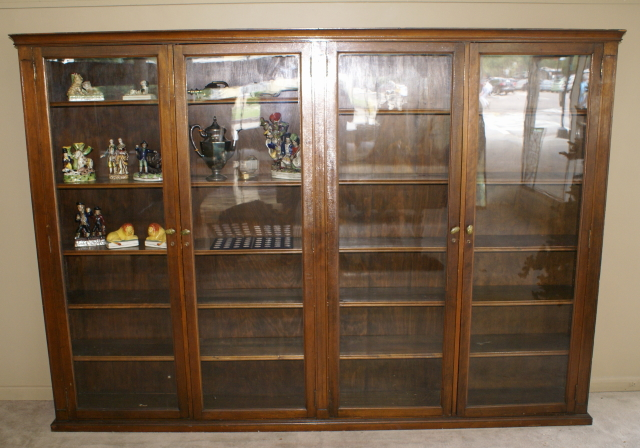 Large oversized walnut glass 4 door 1920s bookcase, Antique ... - Antique Bookcase |Mahogany Bookcases