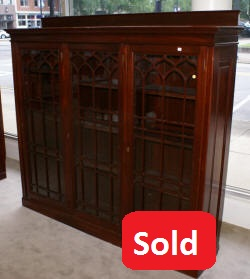 Triple door solid mahogany antique bookcase