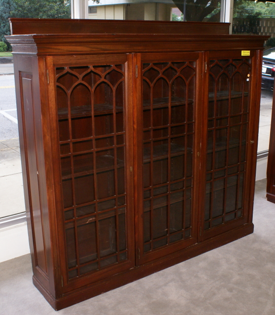 & Triple door solid mahogany antique bookcase