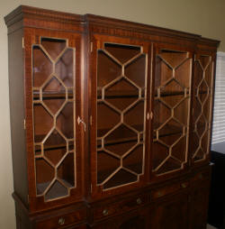 English flame mahogany antique breakfront secretary desk