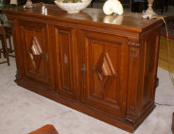 Antique German walnut buffet / bar storage