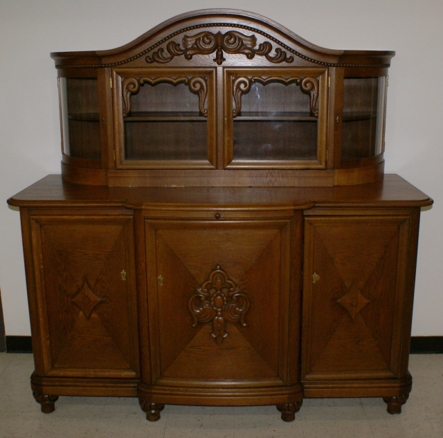 Solid oak German antique carved buffet ... - Solid Oak Antique German Carved Buffet