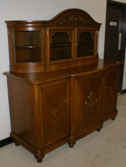 Solid Oak Antique German Carved Buffet