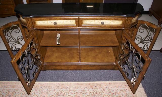 Superior ... Pulaski Furniture Company Granite Top / Wrought Iron Credenza