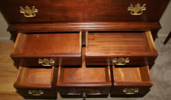 Chippendale dark mahogany flat top high boy