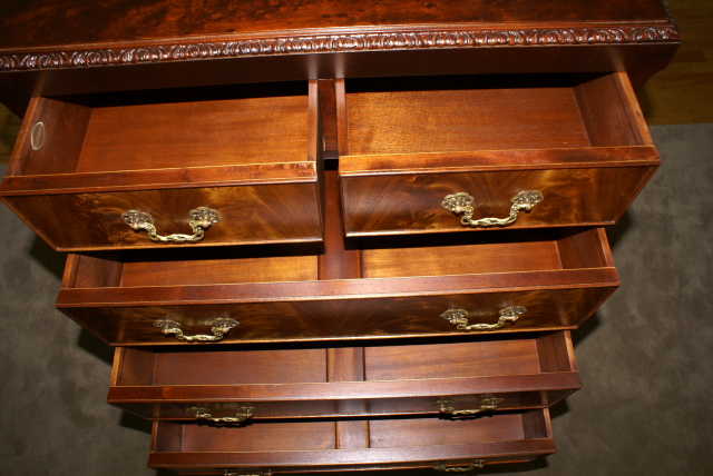 - Irwin Furniture Company Flame Mahogany High Chest