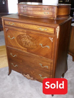 rosewood / walnut inlaid flower basket high chest 1930s