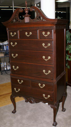 Chinese Chippendale dark mahogany high chest