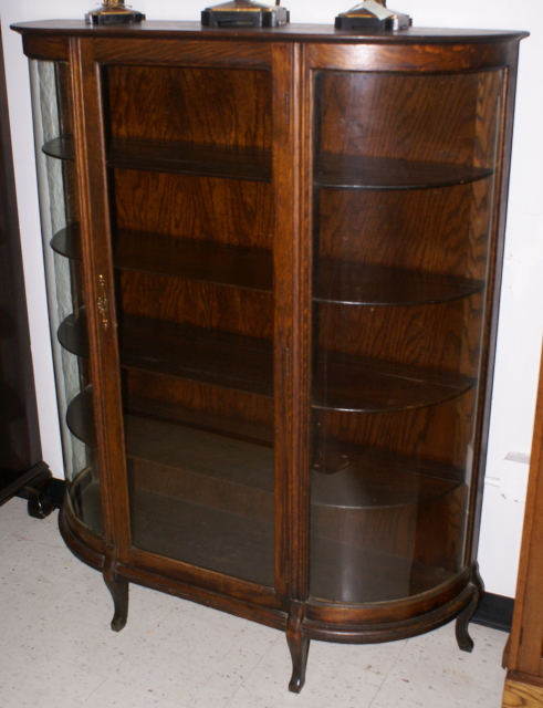 - Solid Oak Antique Bow Glass China Cabinet