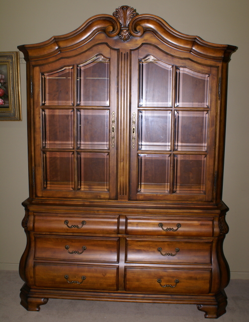 Charming Ethan Allen Cherry Bombay Style Two Piece China Cabinet