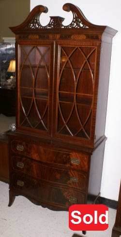 mahogany inlaid bow front china cabinet