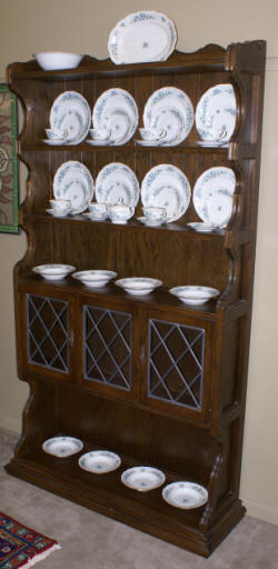 Oak leaded glass door china cabinet
