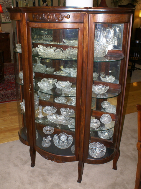 Superieur Walnut Triple Bow Front Antique China Cabinet ...