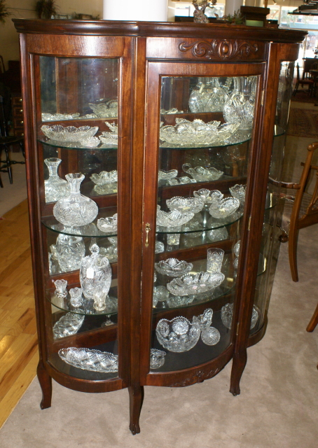 - Walnut Triple Bow Front Antique China Cabinet