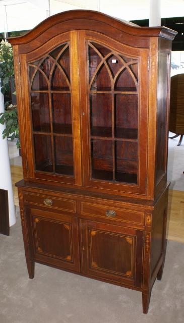 Merveilleux Mahogany Inlaid Antique China Cabinet ...
