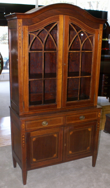 mahogany inlaid antique china cabinet ...