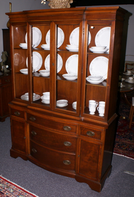 mahogany banded inlaid bow front china cabinet - Banded Inlaid Mahogany Bow Front China Cabinet