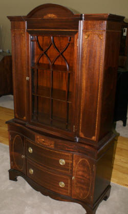 Inlaid antique mahogany china cabinet