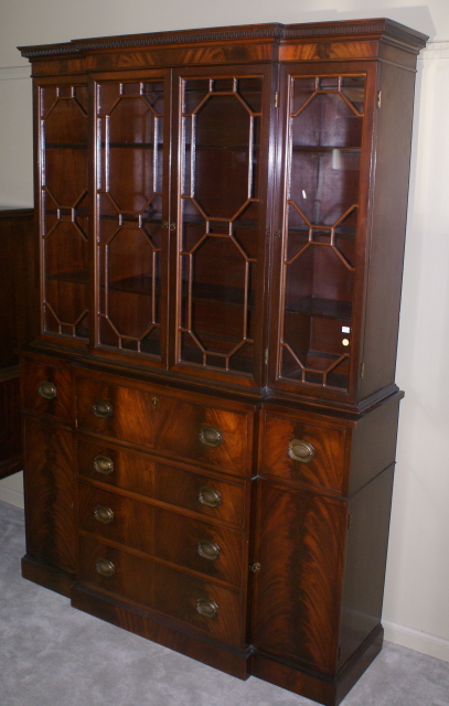 two piece mahogany breakfront china cabinet with butlers desk ... - Two Piece Mahogany Breakfront China Cabinet