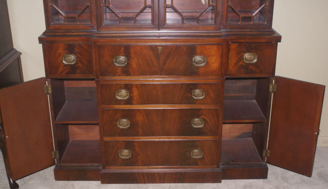Two Piece Mahogany Breakfront China Cabinet
